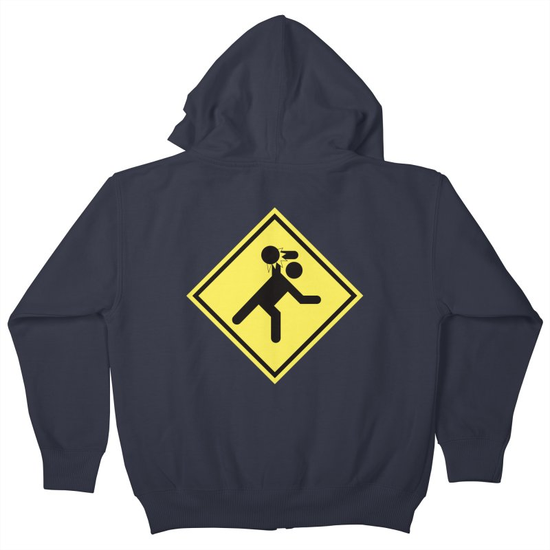 Dodgeball Caution Kids Zip-Up Hoody by Make2wo Artist Shop