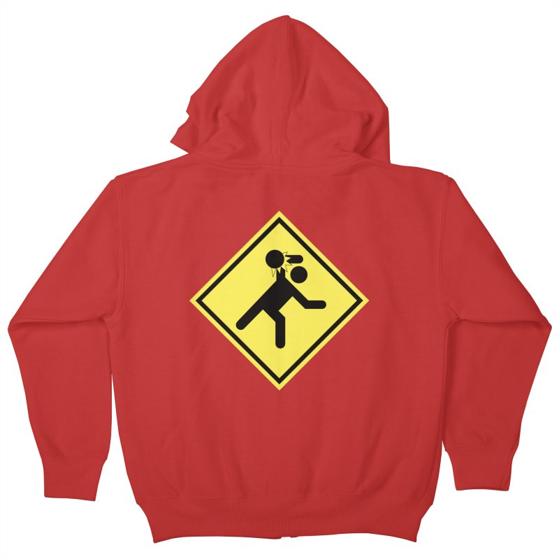 Dodgeball Caution Kids Zip-Up Hoody by Make2wo Artist Shop