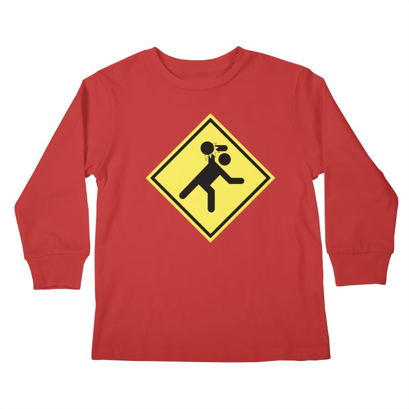 Dodgeball Caution Kids Longsleeve T-Shirt by Make2wo Artist Shop