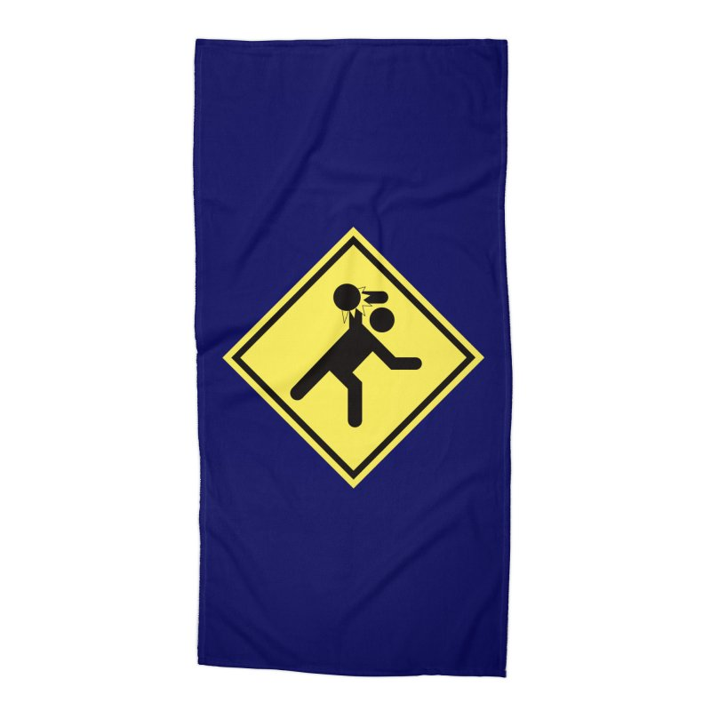 Dodgeball Caution Accessories Beach Towel by Make2wo Artist Shop