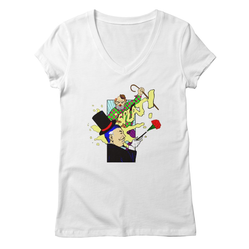 Hobo Clown v. Fancy Magician Women's V-Neck by Make2wo Artist Shop