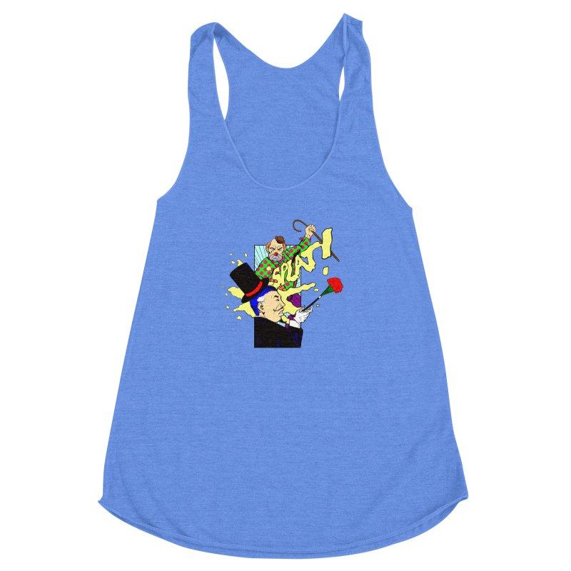 Hobo Clown v. Fancy Magician Women's Racerback Triblend Tank by Make2wo Artist Shop