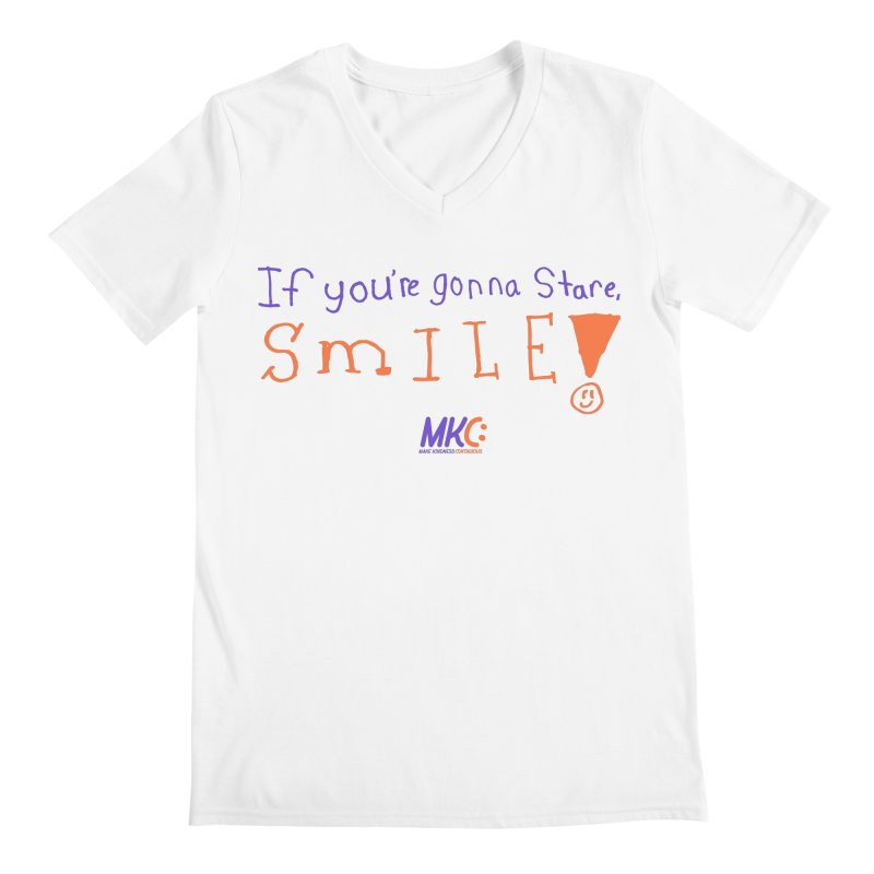 If You're Gonna Stare, Smile Men's Regular V-Neck by MakeKindnessContagious's Artist Shop