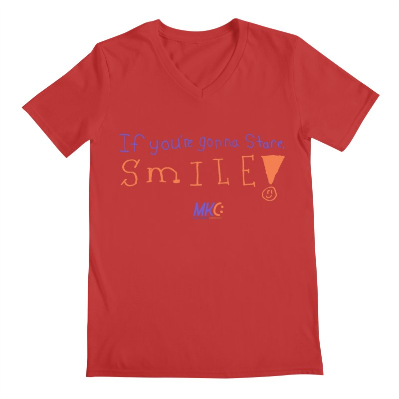 If you are gonna stare, SMILE! Men's Regular V-Neck by MakeKindnessContagious's Artist Shop