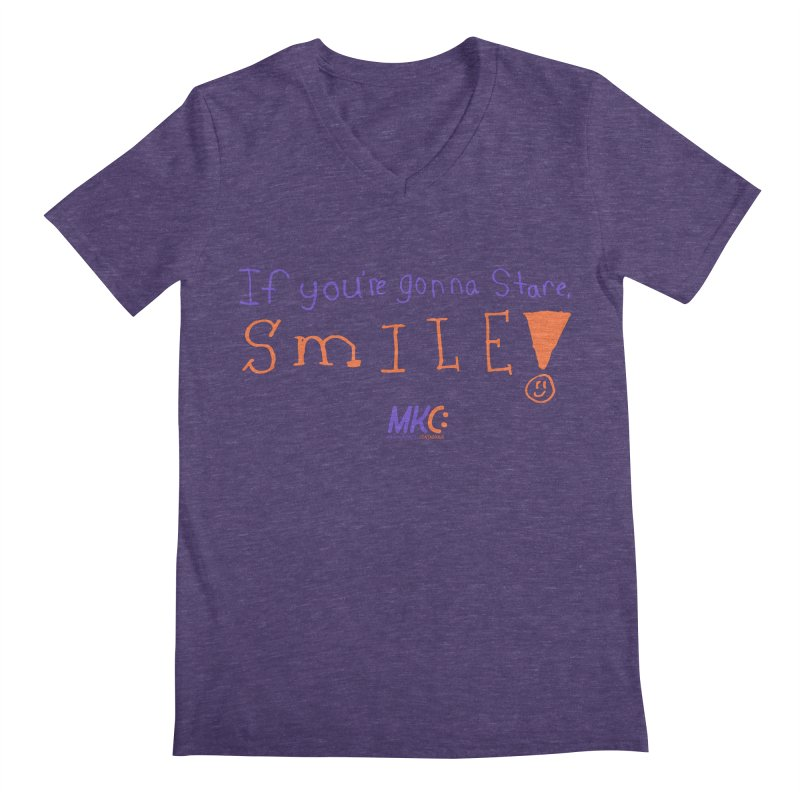 If you are gonna stare, SMILE! Men's V-Neck by MakeKindnessContagious's Artist Shop