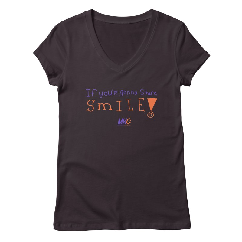 If you are gonna stare, SMILE! Women's V-Neck by MakeKindnessContagious's Artist Shop