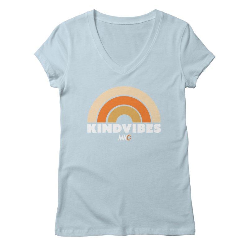 Kind Vibes in Women's Regular V-Neck Baby Blue by MakeKindnessContagious's Artist Shop