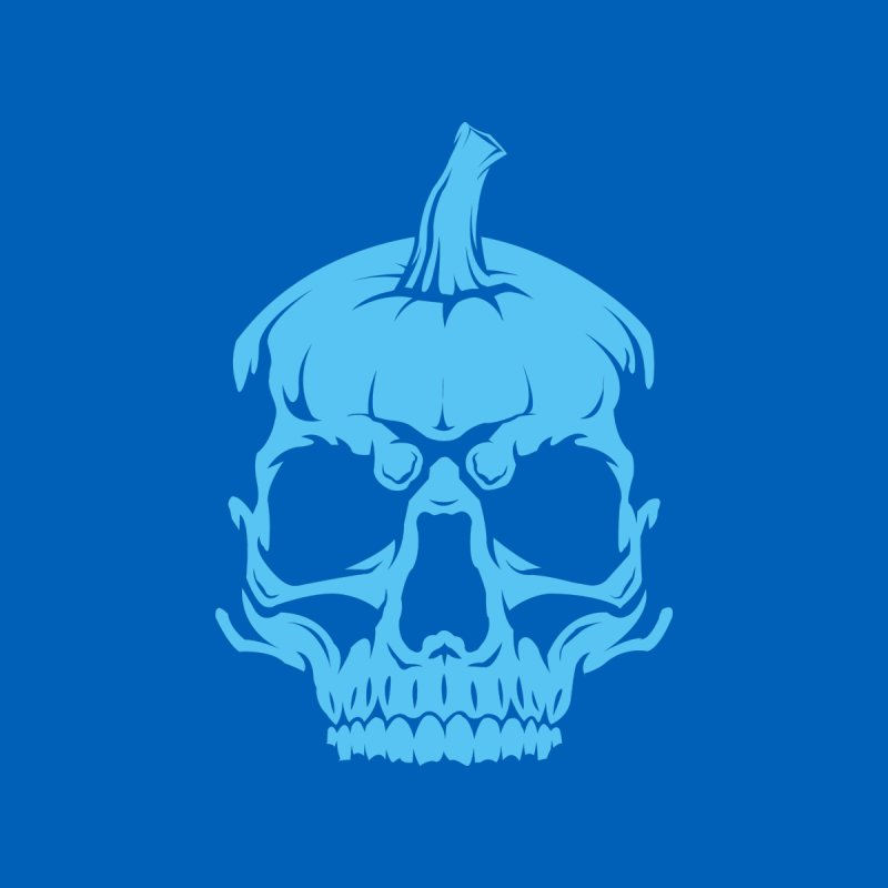 Blue MPC Pumpkin Skull Men's T-Shirt by Maniac Pumpkin Carvers Merch Shop