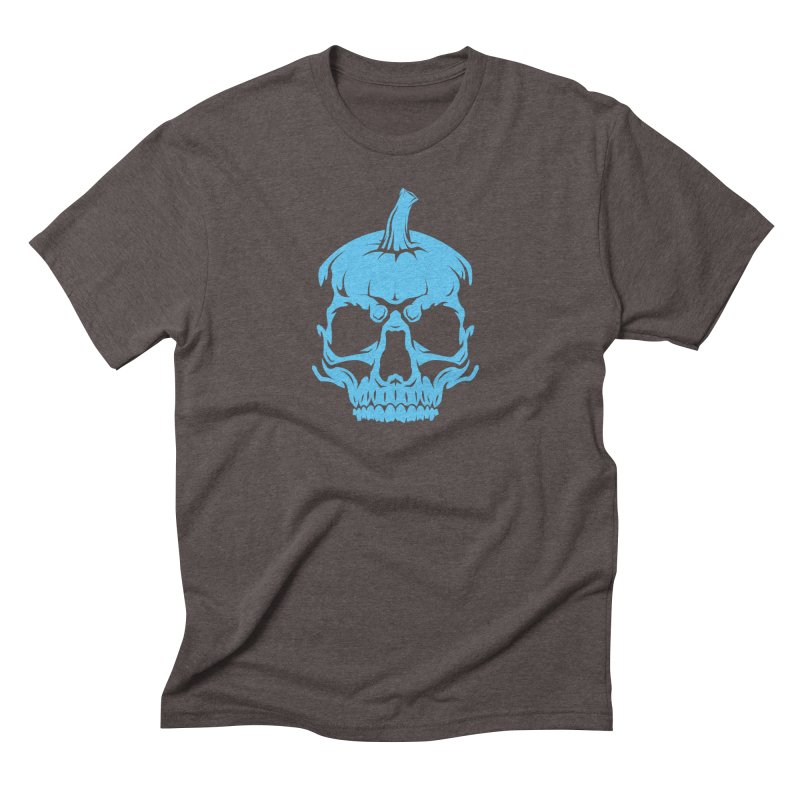 Blue MPC Pumpkin Skull Men's Triblend T-Shirt by Maniac Pumpkin Carvers Merch Shop