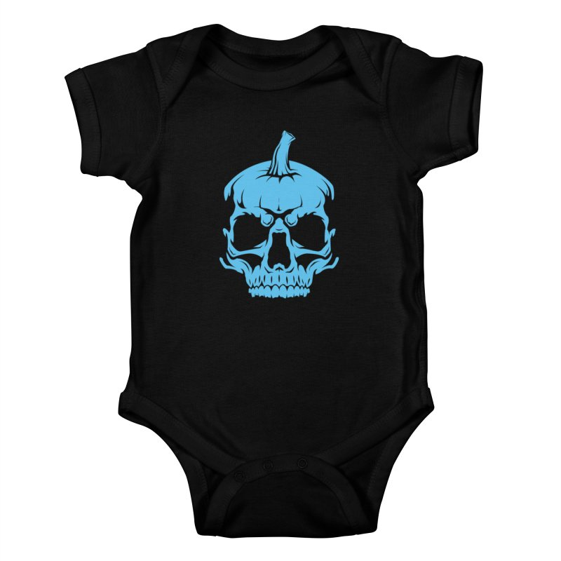 Blue MPC Pumpkin Skull Kids Baby Bodysuit by Maniac Pumpkin Carvers Merch Shop
