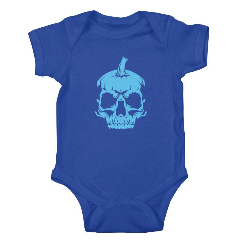 Blue MPC Pumpkin Skull Kids Baby Bodysuit by Maniac Pumpkin Carvers Merch Shop