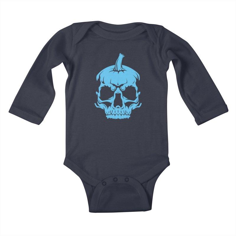 Blue MPC Pumpkin Skull Kids Baby Longsleeve Bodysuit by Maniac Pumpkin Carvers Merch Shop