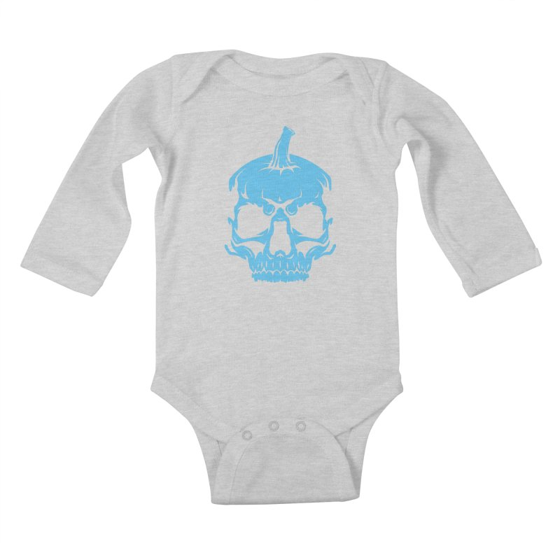 Blue MPC Pumpkin Skull Kids Baby Longsleeve Bodysuit by Maniac Pumpkin Carvers Merch Shop