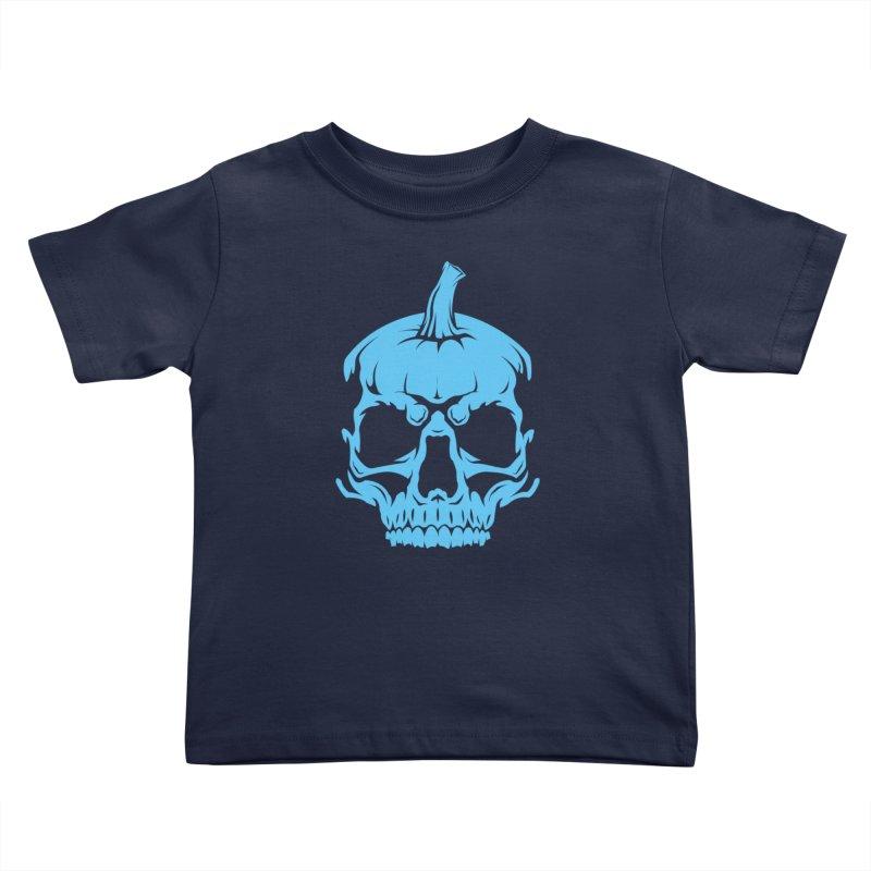 Blue MPC Pumpkin Skull Kids Toddler T-Shirt by Maniac Pumpkin Carvers Merch Shop