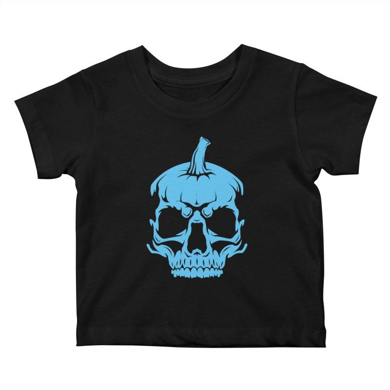 Blue MPC Pumpkin Skull Kids Baby T-Shirt by Maniac Pumpkin Carvers Merch Shop