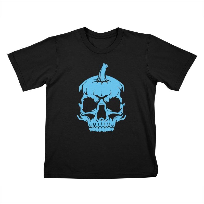 Blue MPC Pumpkin Skull Kids T-Shirt by Maniac Pumpkin Carvers Merch Shop