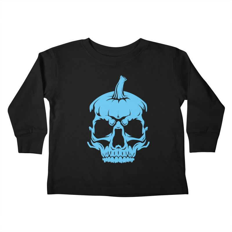Blue MPC Pumpkin Skull Kids Toddler Longsleeve T-Shirt by Maniac Pumpkin Carvers Merch Shop