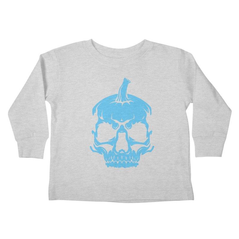 Blue MPC Pumpkin Skull Kids Toddler Longsleeve T-Shirt by Maniac Pumpkin Carvers Merch Shop