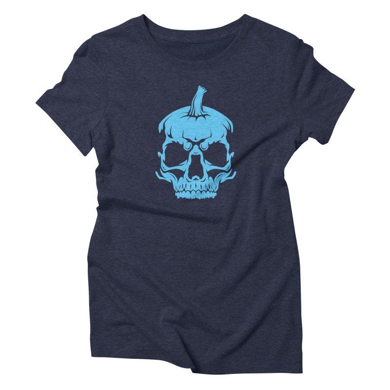 Blue MPC Pumpkin Skull Women's T-Shirt by Maniac Pumpkin Carvers Merch Shop