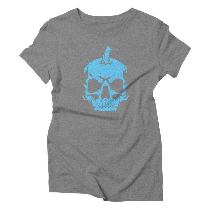 Blue MPC Pumpkin Skull Women's Triblend T-Shirt by Maniac Pumpkin Carvers Merch Shop
