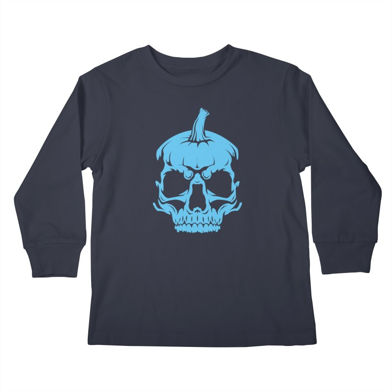 Blue MPC Pumpkin Skull Kids Longsleeve T-Shirt by Maniac Pumpkin Carvers Merch Shop