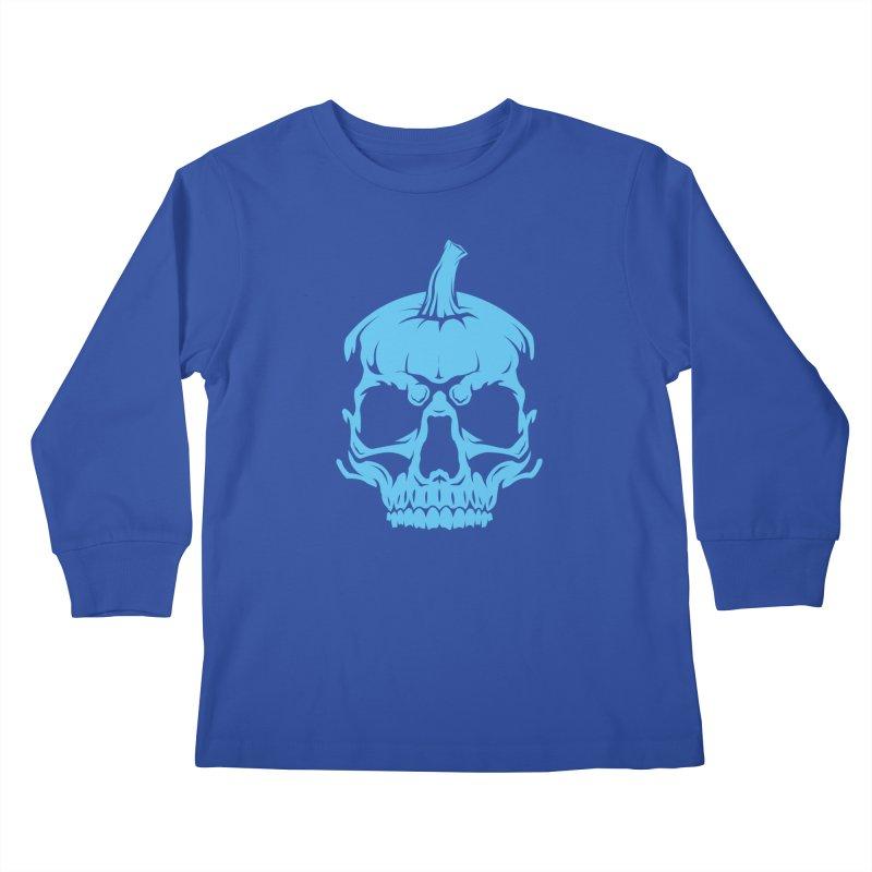 Blue MPC Pumpkin Skull Kids Longsleeve T-Shirt by Maniac Pumpkin Carvers Merch Shop