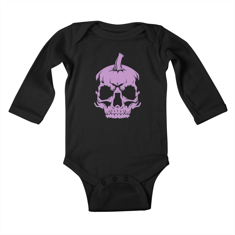 Lavender MPC Pumpkin Skull Logo Kids Baby Longsleeve Bodysuit by Maniac Pumpkin Carvers Merch Shop