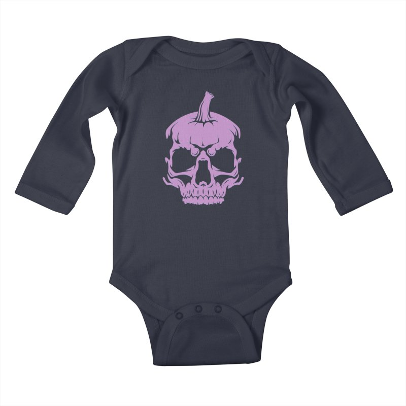 Lavender MPC Pumpkin Skull Logo Kids Baby Longsleeve Bodysuit by Maniac Pumpkin Carvers Merch Shop
