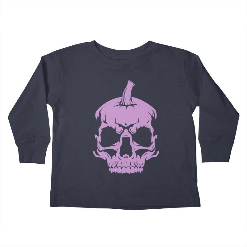Lavender MPC Pumpkin Skull Logo Kids Toddler Longsleeve T-Shirt by Maniac Pumpkin Carvers Merch Shop
