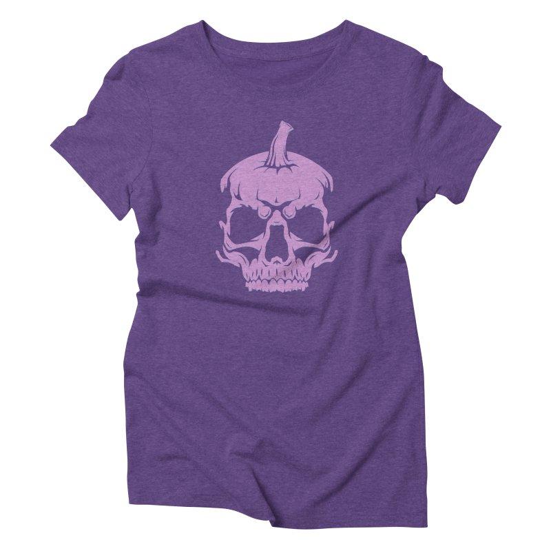 Lavender MPC Pumpkin Skull Logo Women's Triblend T-Shirt by Maniac Pumpkin Carvers Merch Shop