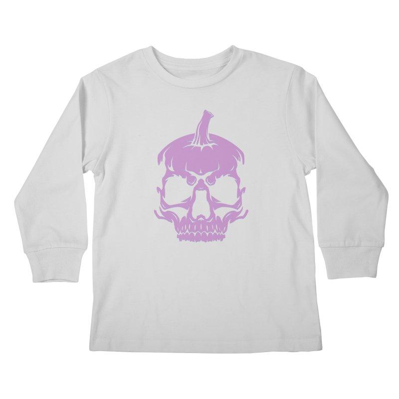 Lavender MPC Pumpkin Skull Logo Kids Longsleeve T-Shirt by Maniac Pumpkin Carvers Merch Shop