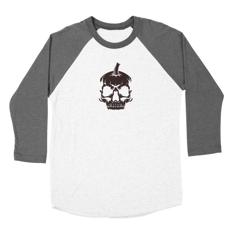 Black MPC Pumpkin Skull Logo Women's Baseball Triblend Longsleeve T-Shirt by Maniac Pumpkin Carvers Merch Shop