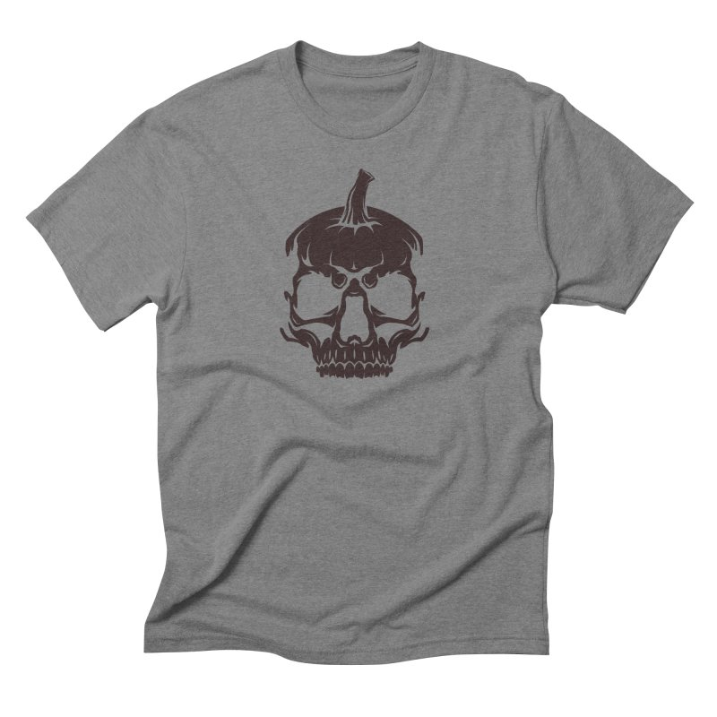 Black MPC Pumpkin Skull Logo Men's Triblend T-Shirt by Maniac Pumpkin Carvers Merch Shop