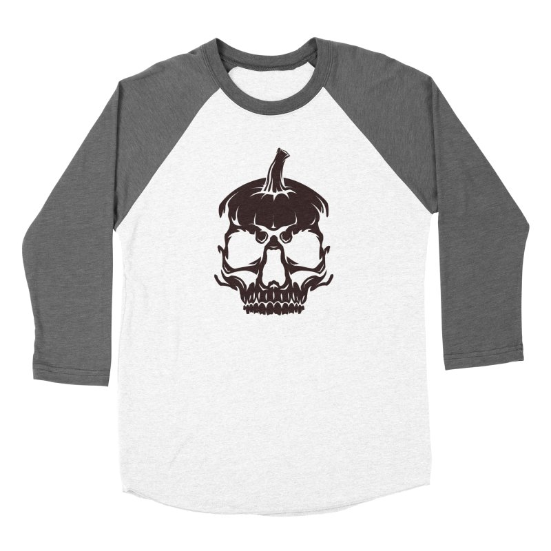 Black MPC Pumpkin Skull Logo Men's Baseball Triblend Longsleeve T-Shirt by Maniac Pumpkin Carvers Merch Shop
