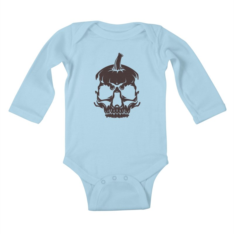 Black MPC Pumpkin Skull Logo Kids Baby Longsleeve Bodysuit by Maniac Pumpkin Carvers Merch Shop