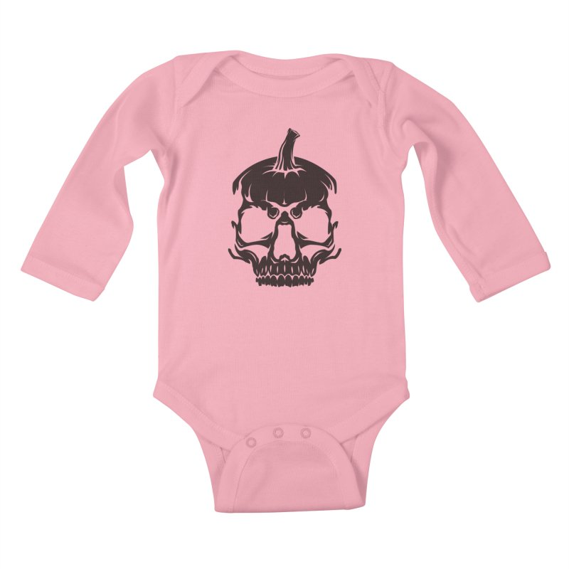 Black MPC Pumpkin Skull Logo Kids Baby Longsleeve Bodysuit by Maniac Pumpkin Carvers Merch Shop