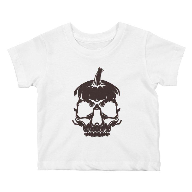Black MPC Pumpkin Skull Logo Kids Baby T-Shirt by Maniac Pumpkin Carvers Merch Shop
