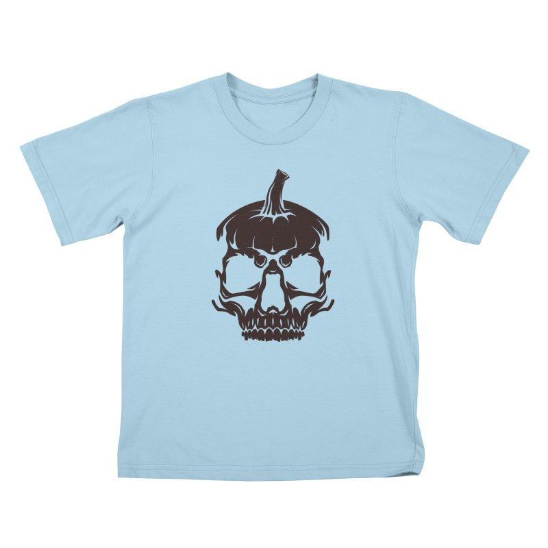 Black MPC Pumpkin Skull Logo Kids T-Shirt by Maniac Pumpkin Carvers Merch Shop
