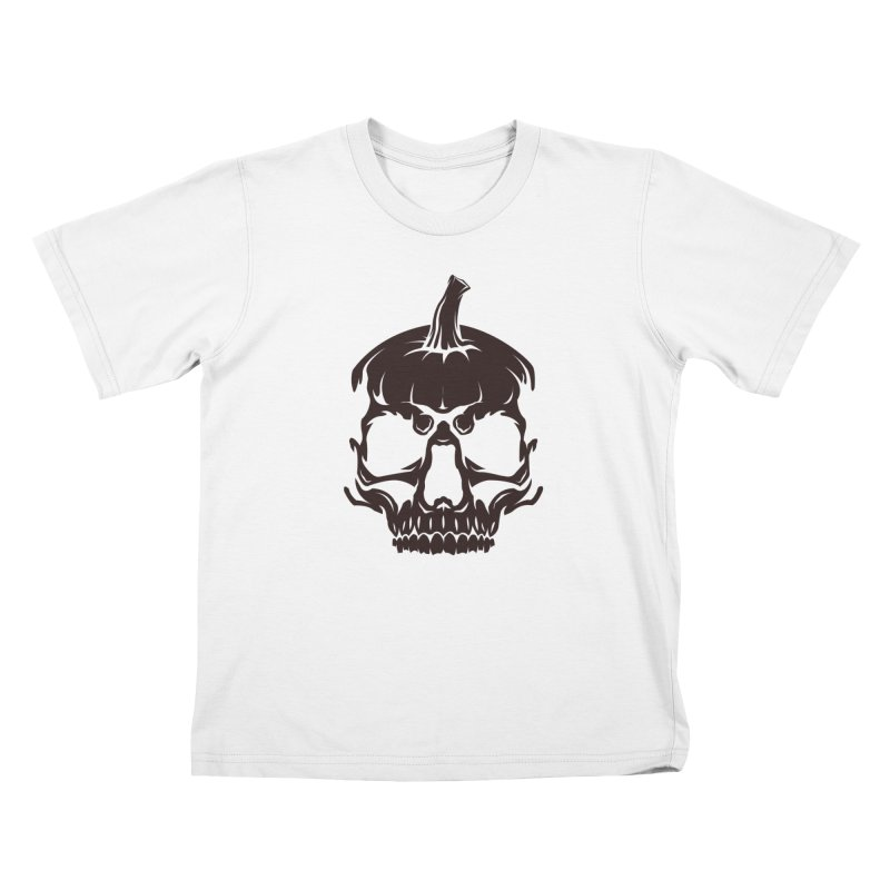 Black MPC Pumpkin Skull Logo Kids T-Shirt by Maniac Pumpkin Carvers Merch Shop