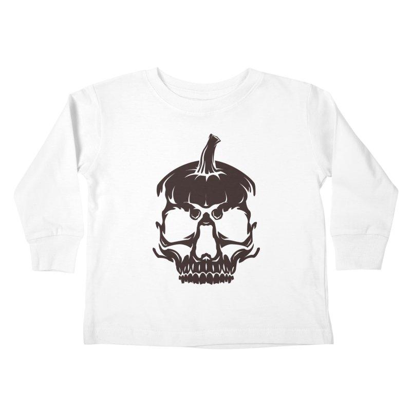 Black MPC Pumpkin Skull Logo Kids Toddler Longsleeve T-Shirt by Maniac Pumpkin Carvers Merch Shop