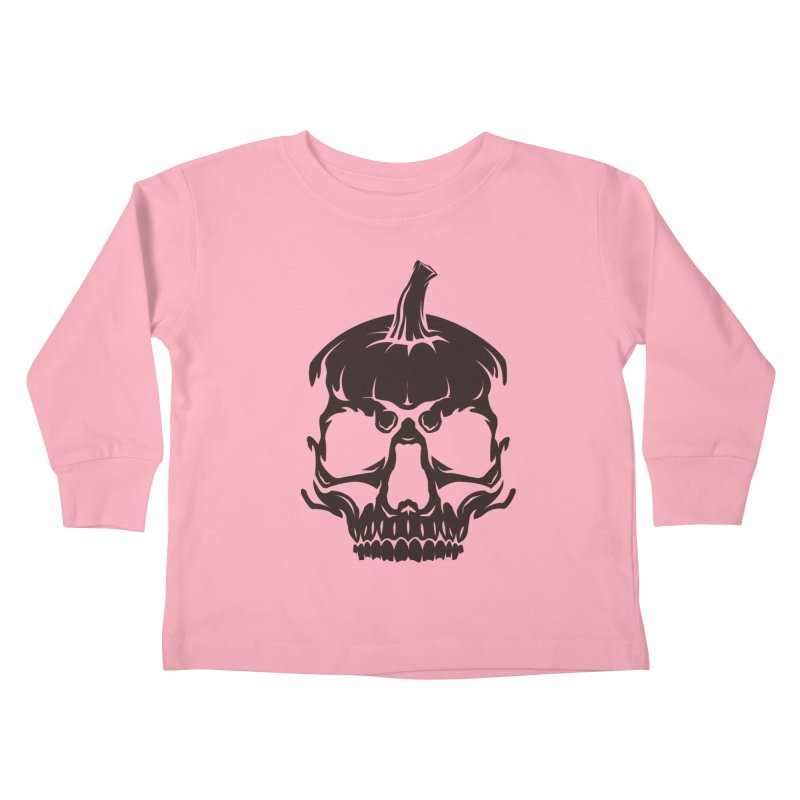 Black MPC Pumpkin Skull Logo Kids Toddler Longsleeve T-Shirt by Maniac Pumpkin Carvers Merch Shop