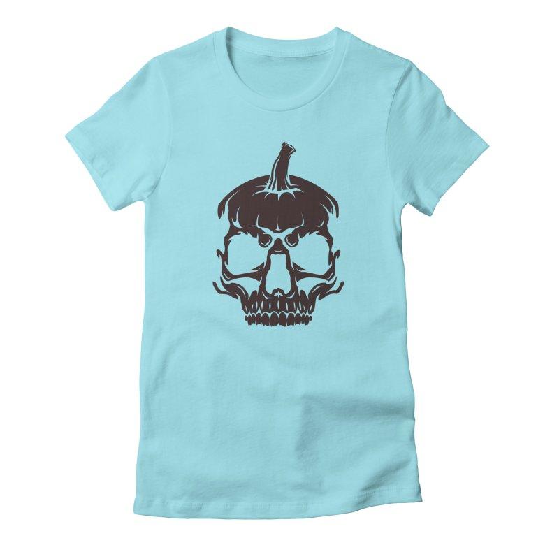 Black MPC Pumpkin Skull Logo Women's Fitted T-Shirt by Maniac Pumpkin Carvers Merch Shop