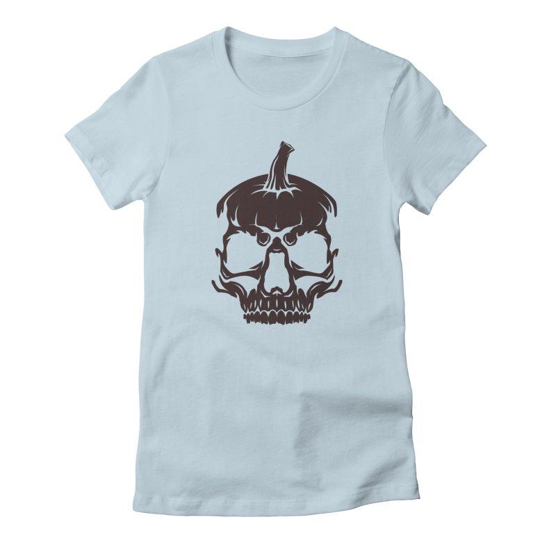 Black MPC Pumpkin Skull Logo Women's T-Shirt by Maniac Pumpkin Carvers Merch Shop