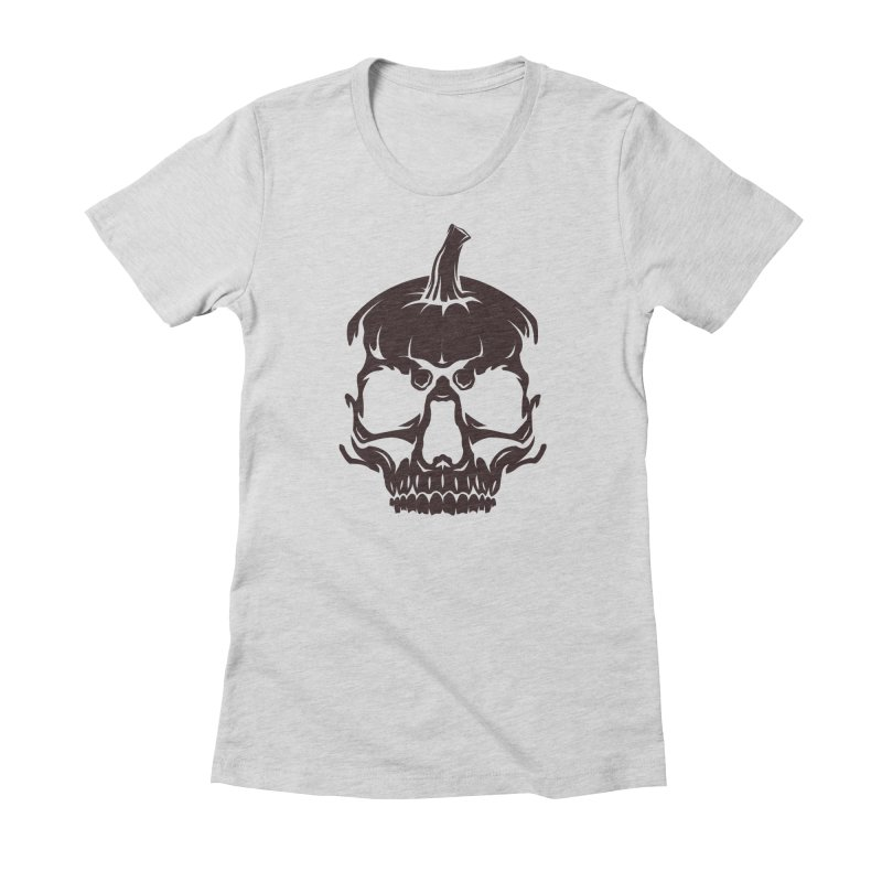 Black MPC Pumpkin Skull Logo Women's Fitted T-Shirt by Maniac Pumpkin Carvers Merch Shop