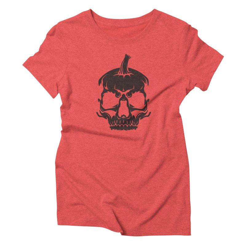 Black MPC Pumpkin Skull Logo Women's Triblend T-Shirt by Maniac Pumpkin Carvers Merch Shop