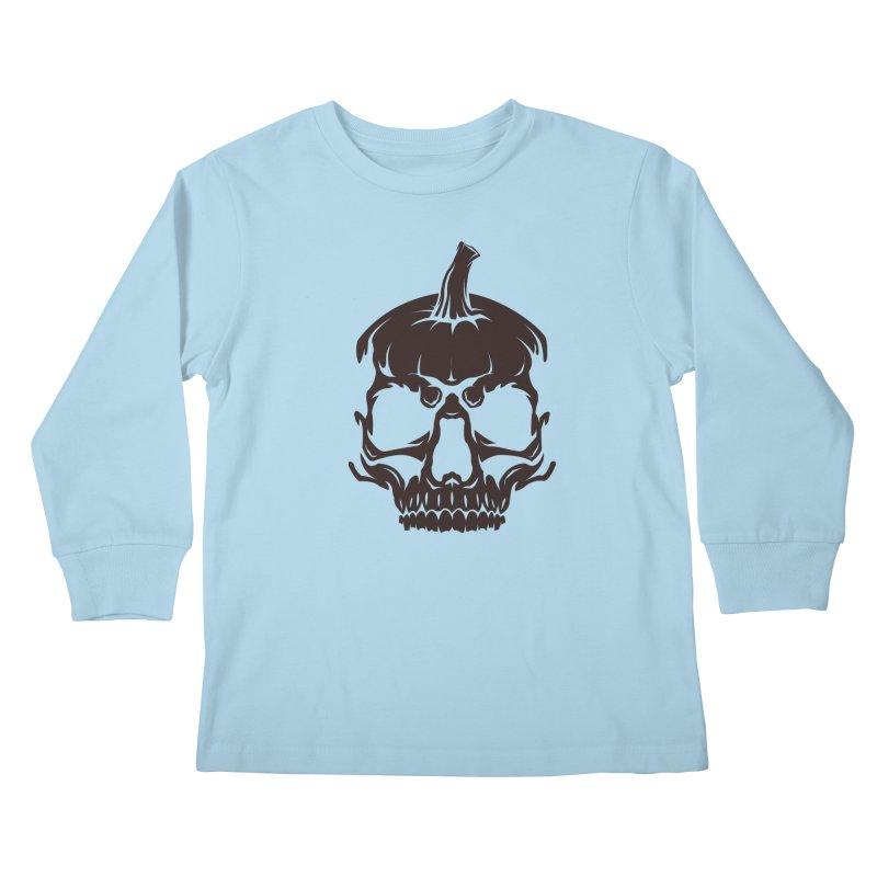 Black MPC Pumpkin Skull Logo Kids Longsleeve T-Shirt by Maniac Pumpkin Carvers Merch Shop