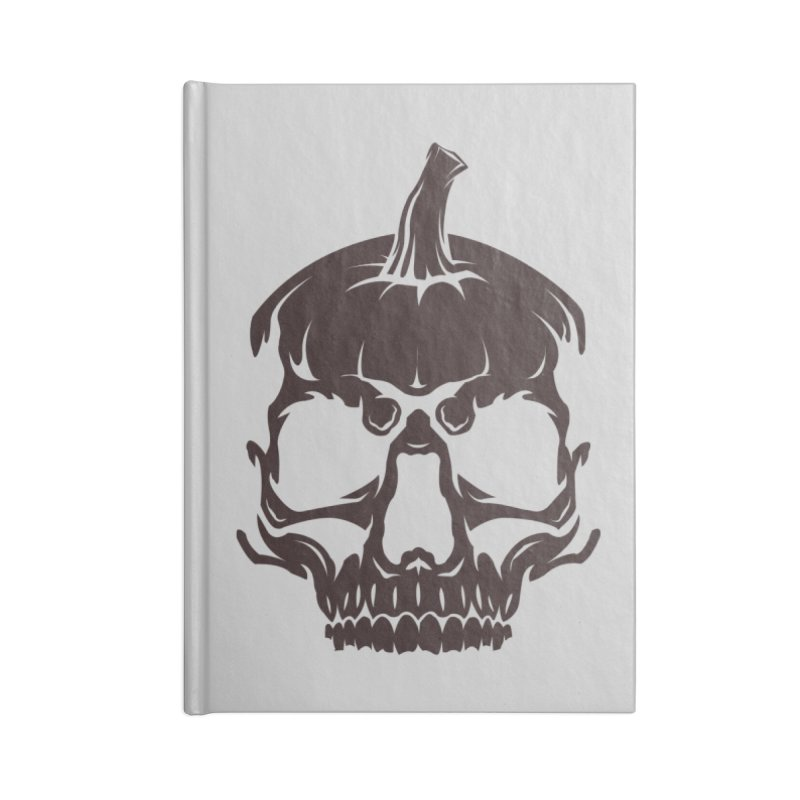 Black MPC Pumpkin Skull Logo Accessories Lined Journal Notebook by Maniac Pumpkin Carvers Merch Shop