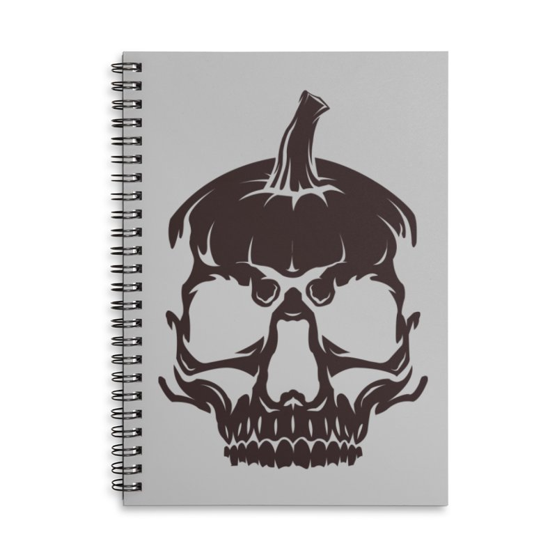 Black MPC Pumpkin Skull Logo Accessories Lined Spiral Notebook by Maniac Pumpkin Carvers Merch Shop