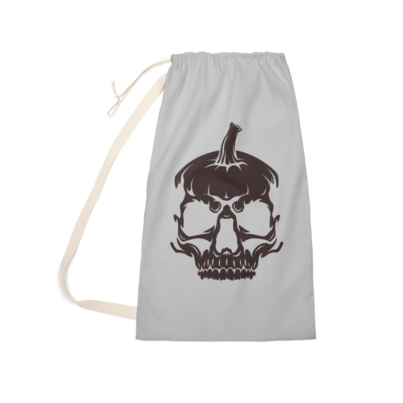 Black MPC Pumpkin Skull Logo Accessories Laundry Bag Bag by Maniac Pumpkin Carvers Merch Shop