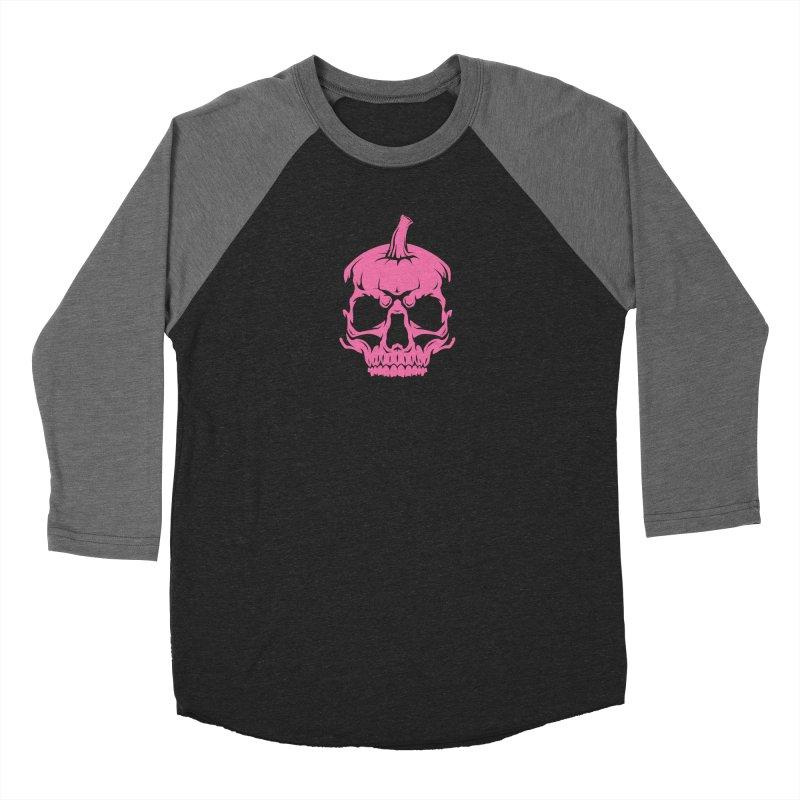Pink Classic MPC Pumpkin Skull Logo Men's Baseball Triblend Longsleeve T-Shirt by Maniac Pumpkin Carvers Merch Shop